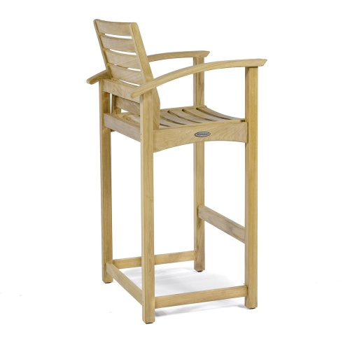 Square Somerset Teak Dining Barstool Set - Picture M