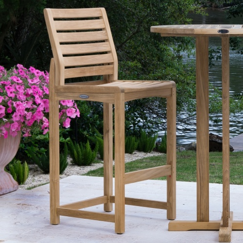 Square Somerset Teak Side Barstool Set - Picture L