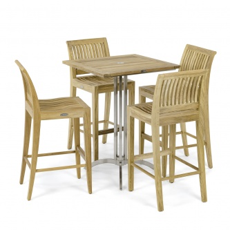 Laguna Side Teak Barstool Set