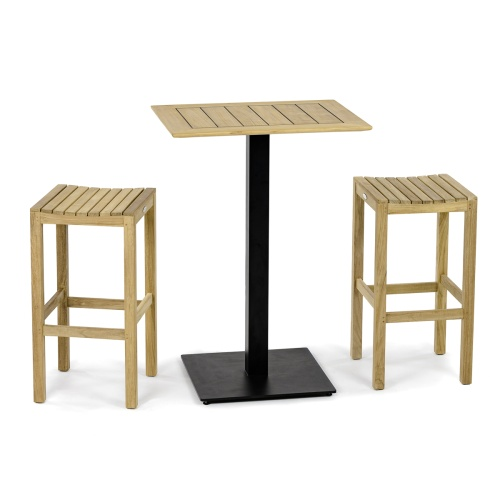 Barstool 3pc Teak Bar Set - Picture A