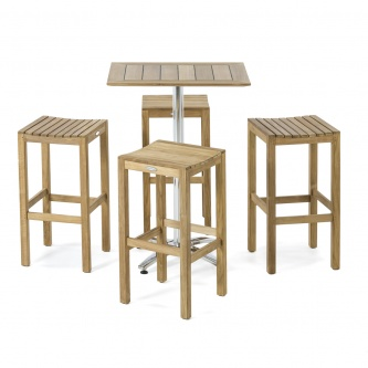 Somerset Backless Teak Barstool Set