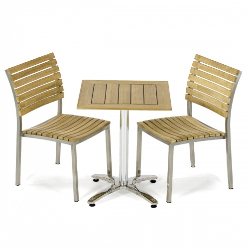 3pc Vogue Teak Square Dining Set - Picture A