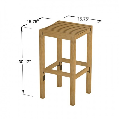 Somerset Backless Teak Barstool Set - Picture M