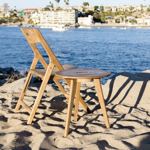 2pc Surf Round Teak Side Table Set - Picture A
