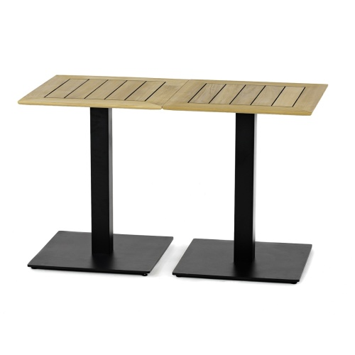 24x24 Square Teak Table Top & Black Base - Picture C
