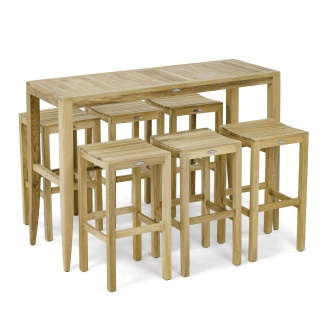7 pc Laguna Somerset Teak Pub Table And Stool Set