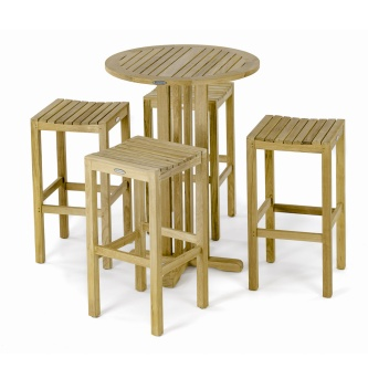 Round Backless Teak Barstool Set