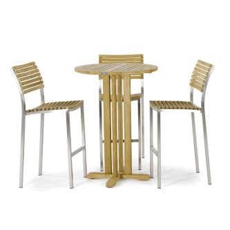 Round Vogue Teak Barstool Set