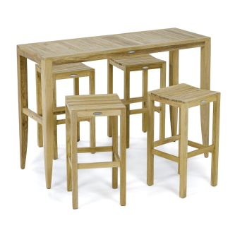 5 pc Laguna Backless Teak Barstool Set