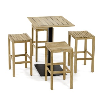 5 pc Backless Teak Bar Stool Set