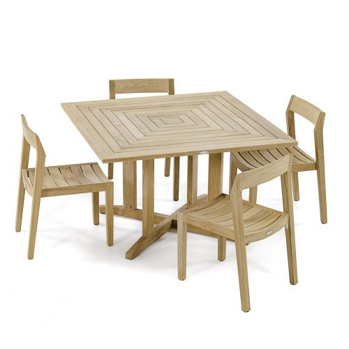 5 pc Horizon Pyramid Teak Dining Set - Picture A