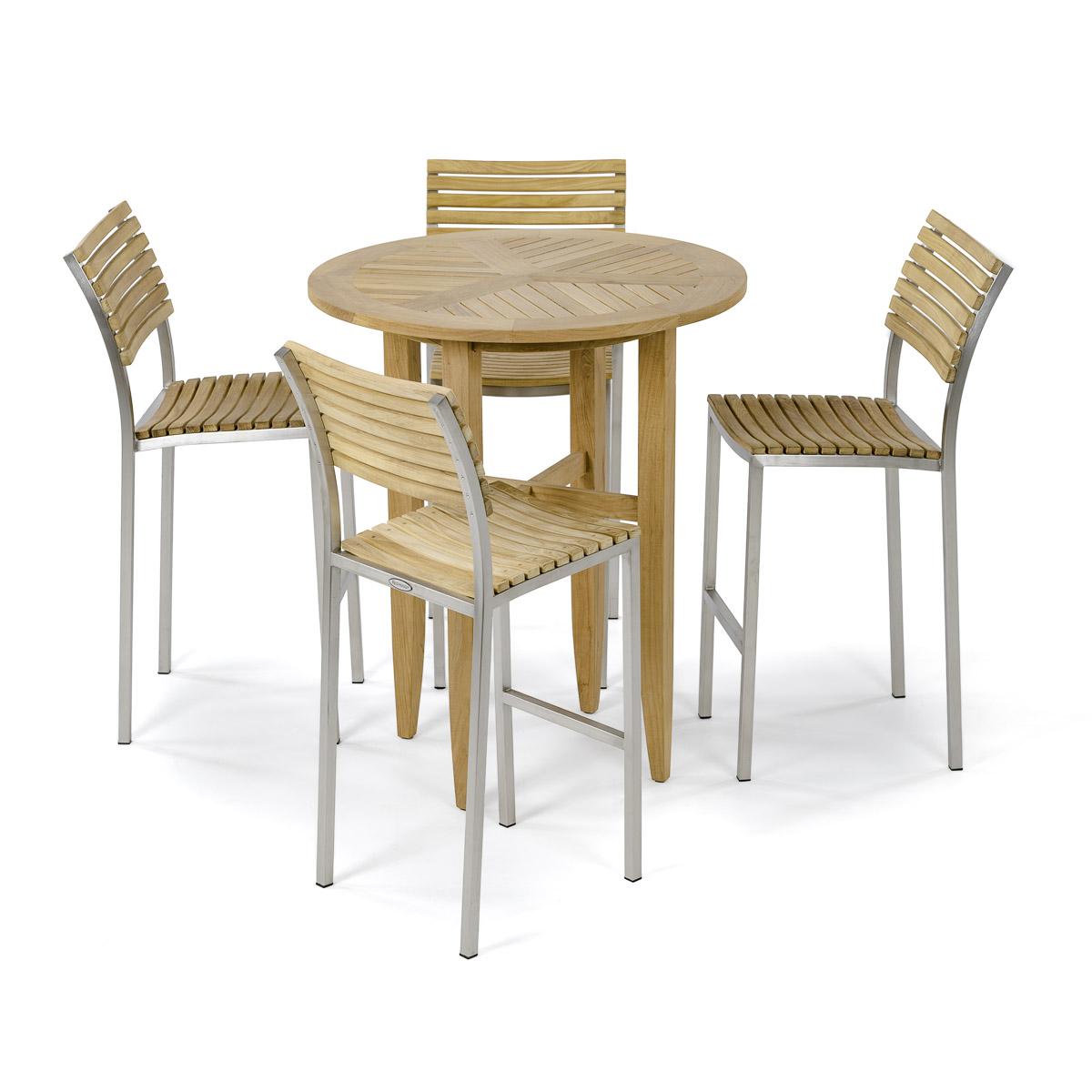 5 Pc Round Teak Pub Table And Stools Westminster Teak