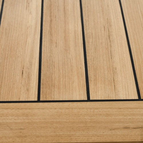 30x30 Restaurant Teak Table Top with Stainless Ste - Picture D