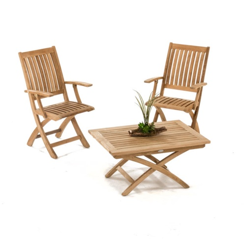 Barbuda Teak Folding Chair and Table Chat Set - Picture A