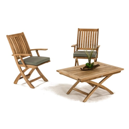 Barbuda Teak Folding Chair and Table Chat Set - Picture B