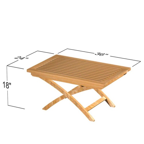 Barbuda Teak Folding Chair and Table Chat Set - Picture I