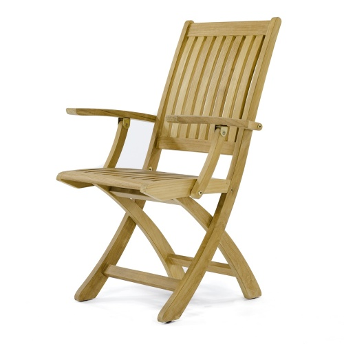 Barbuda Teak Folding Chair and Table Chat Set - Picture J