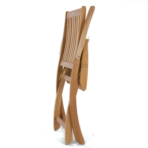 Barbuda Teak Folding Chair and Table Chat Set - Picture L