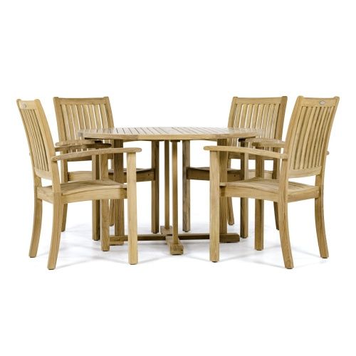 Round Sussex Teak Dining Set - Picture B