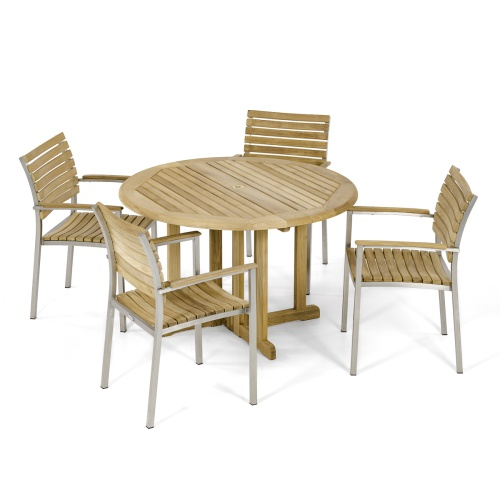 Barbuda 4 ft Round Teak Dining chair Set - Picture A