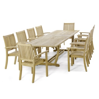 11 pc Sussex Teak Patio Dining Set