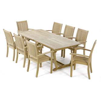 9 pc Sussex Teak Patio Dining Set