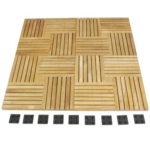 50 Cartons Parquet Teak Floor Tiles - Picture F