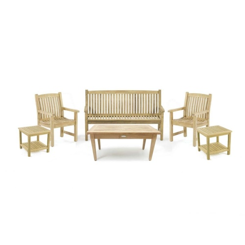 Teak Bench and Chair Conversation Set for 5 - Picture A