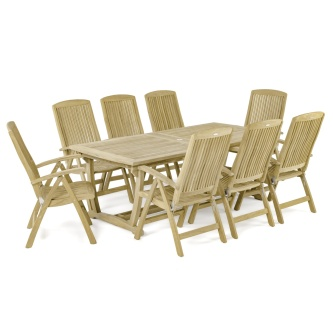 9 pc Dining Set with Recliner Chairs