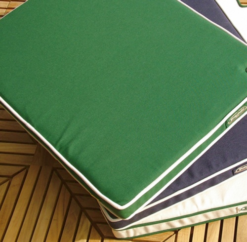 Canvas with Forest Green Welt Dining Chair Cushion - Picture C