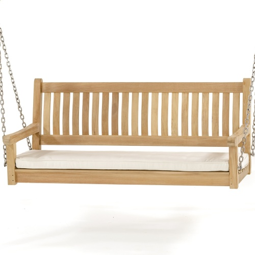 swinging teak bench cushions