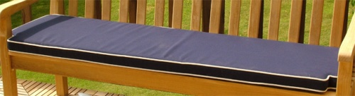 5 Foot GlenTuff Bench Cushion Navy Blue with Canvas Welt - Picture B