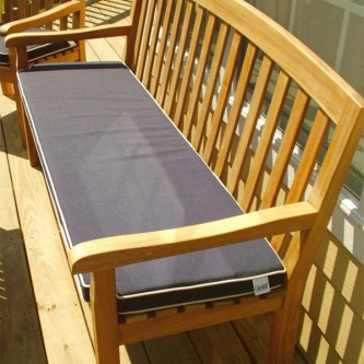 5ft GlenTuff Bench Cushion - Navy Blue with Canvas Welt