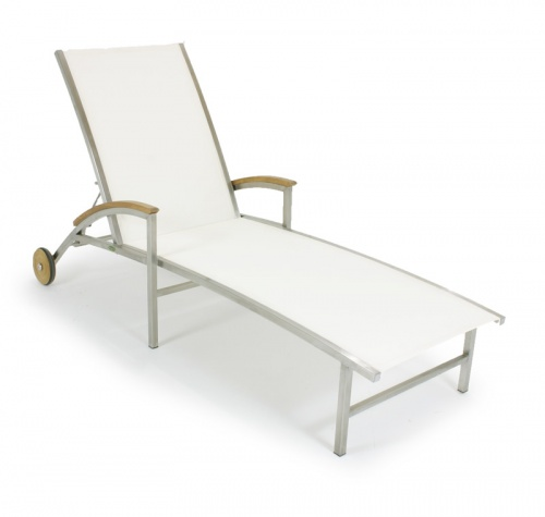 26113 Textilene Gemini Lounger Fabric - White - Picture A
