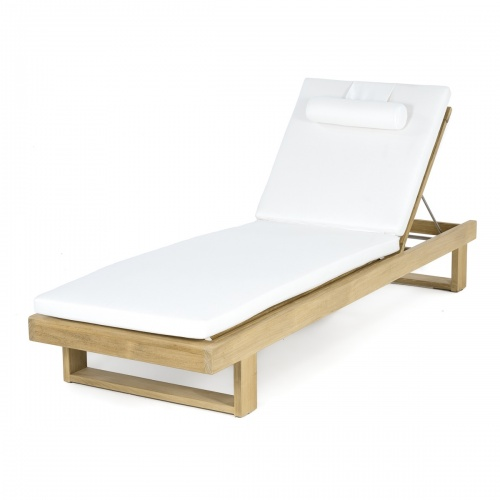 Horizon Teak Lounger Cushion - Natte White - Picture A