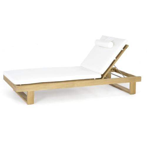 Horizon Teak Lounger Cushion Natte White - Picture B