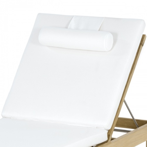 Horizon Teak Lounger Cushion - Natte White - Picture D