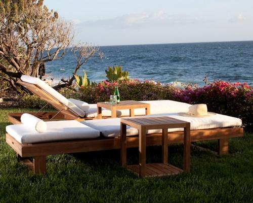 Horizon Teak Lounger Cushion Natte White - Picture E