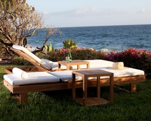 Horizon High Chaise Bench Cushion - Canvas - Picture B