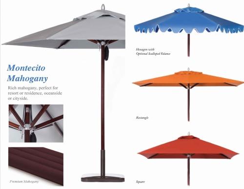 9ft Hexagon Mahogany Umbrella - Picture D