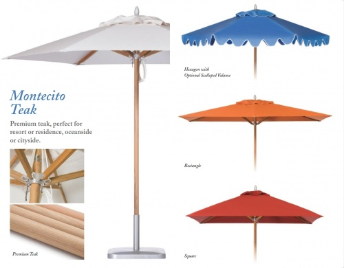 8ft Square Teak Umbrella - Picture B