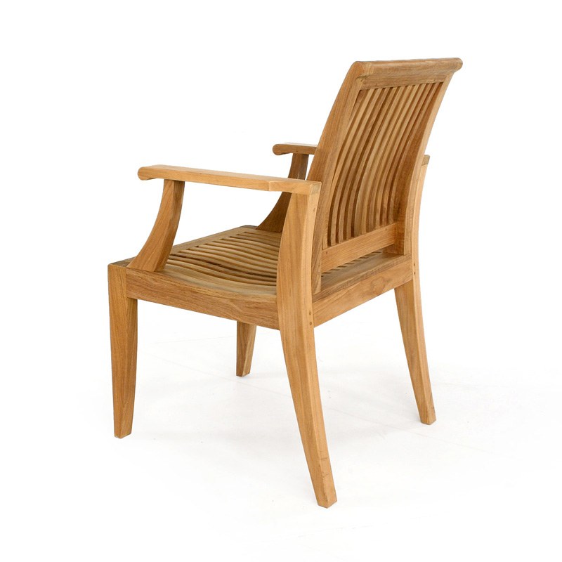 Laguna teak wood dining chair with arms westminster teak for Wood dining chairs with arms