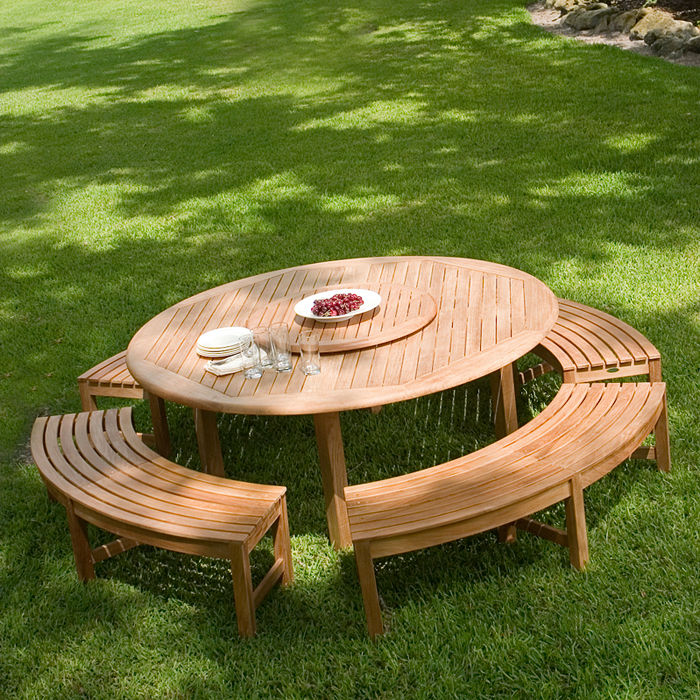 Buckingham Teak Backless Curved Round Bench - Westminster Teak ...