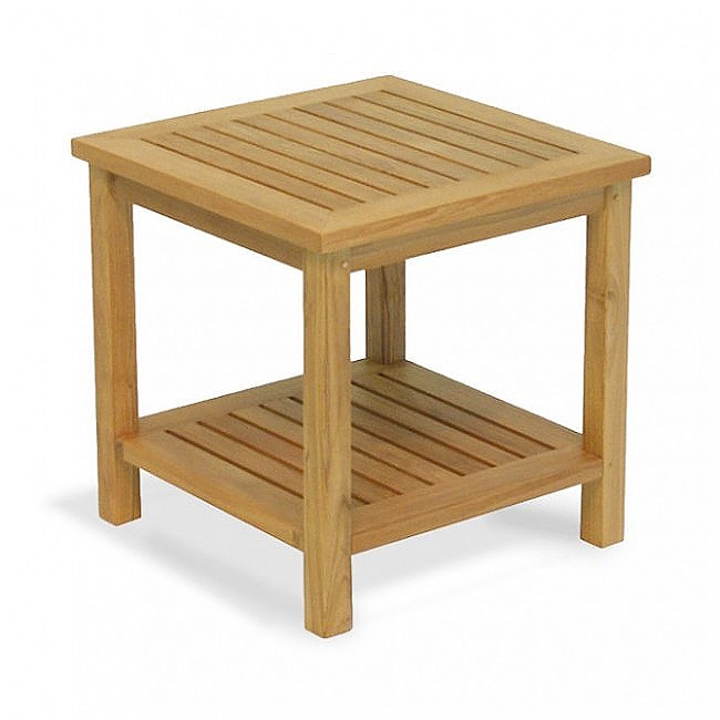Veranda end table with shelf westminster teak outdoor for Outdoor teak side table