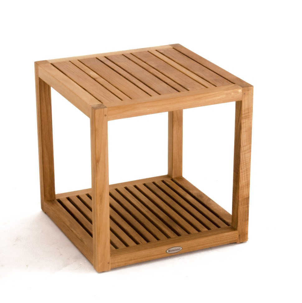 Maya teak outdoor end table westminster teak outdoor for Outdoor teak side table