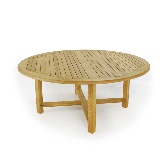 Buckingham 6 foot diameter round teak outdoor tab for 6 foot round dining table