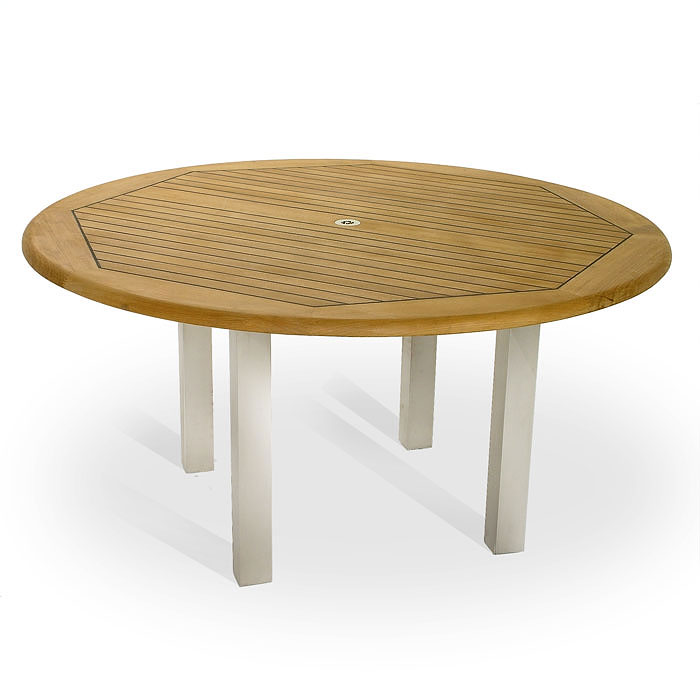 Vogue 6ft diameter round teak and stainless steel for 6 foot round dining table