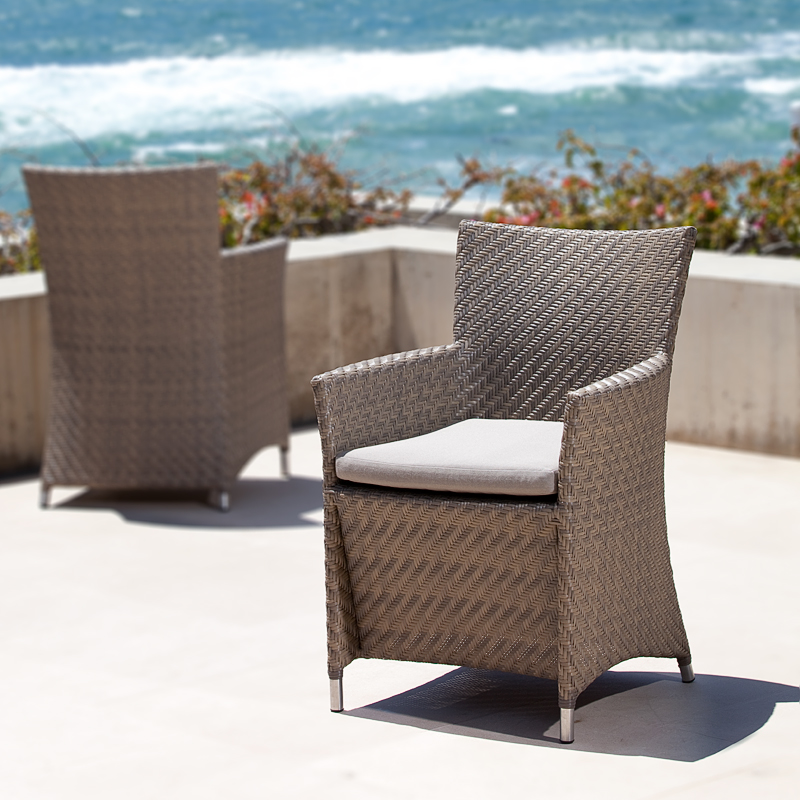 Valencia woven all weather wicker parsons chair for All weather wicker furniture
