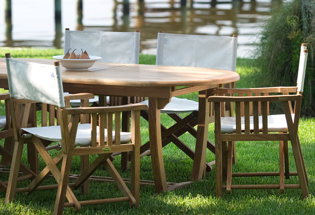The Director Chair 9 Piece Teak Outdoor Dining Set ...