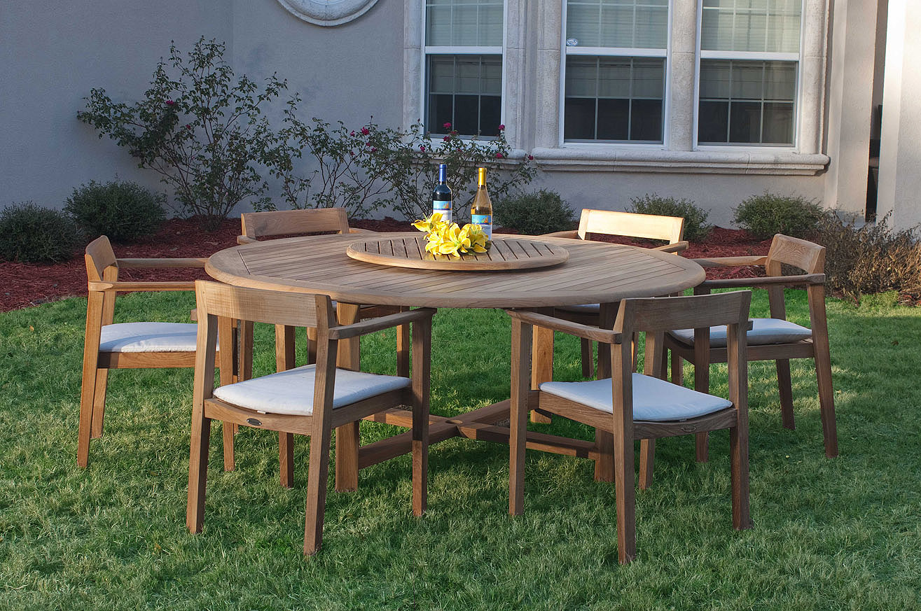 Buckingham horizon teak patio dining set westminster for Teak outdoor furniture